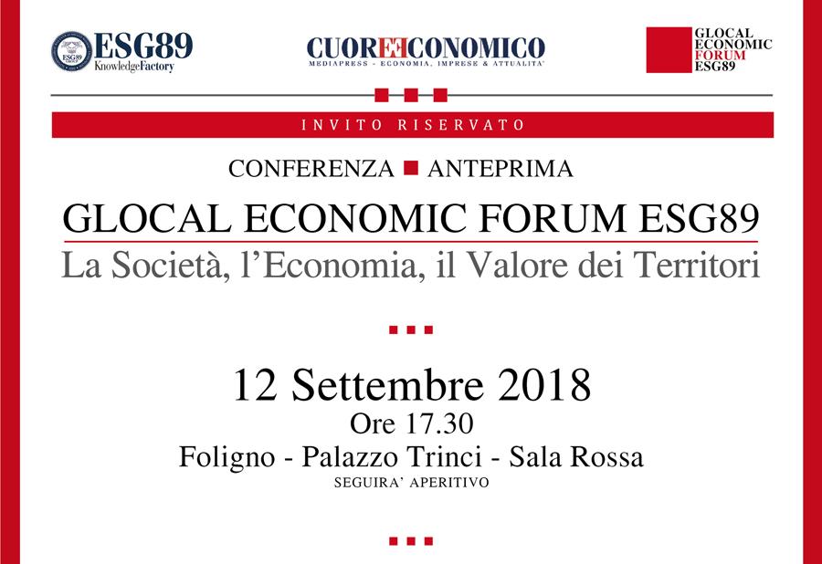 Glocal Economic Forum ESG89. A Foligno la presentazione dell'incontro economico in programma a ottobre