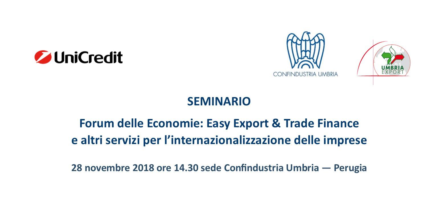 Seminario. Forum delle Economie: Easy Export & Trade Finance e altri servizi per l'internazionalizzazione delle imprese