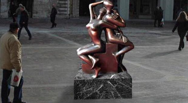 Terni scopre l'Abbraccio Eterno, la scultura donata alla città dagli imprenditori di Confindustria Umbria