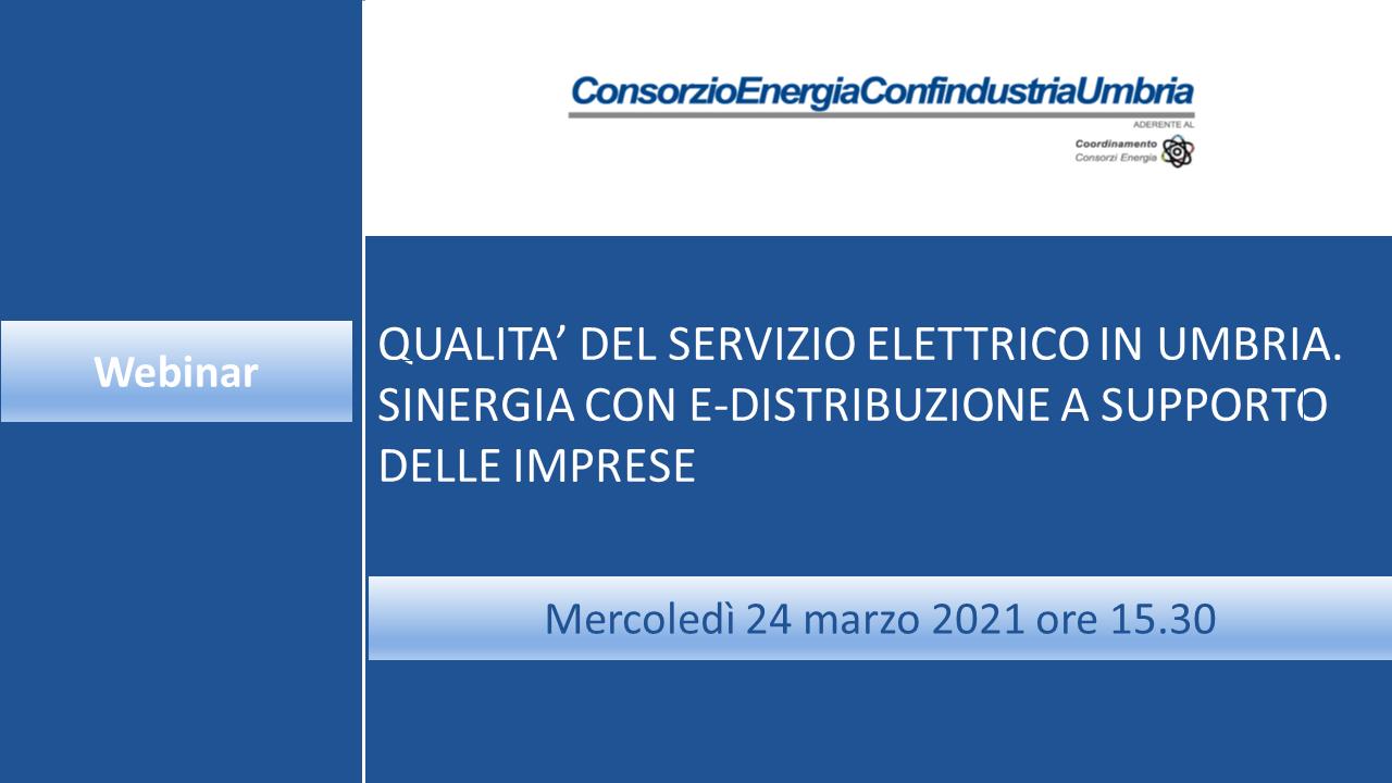 """Webinar """"Qualità del servizio elettrico in Umbria. Sinergia con E-Distribuzione a supporto delle imprese"""""""