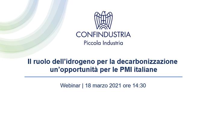 """Webinar """"Il ruolo dell'idrogeno per la decarbonizzazione: un'opportunità per le PMI italiane"""""""